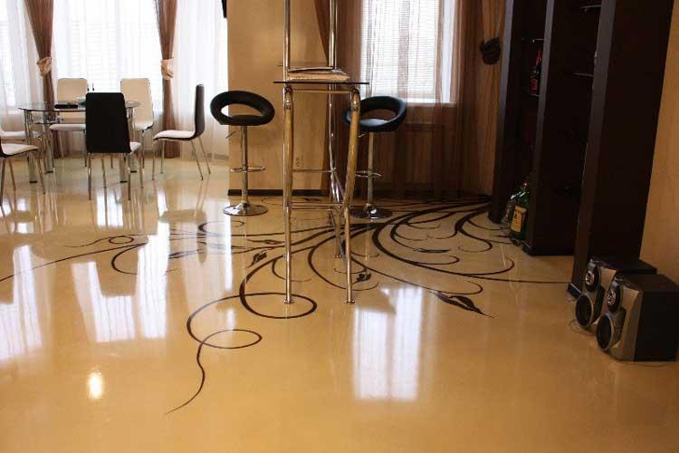 Фото: Красивый наливной пол в комнате