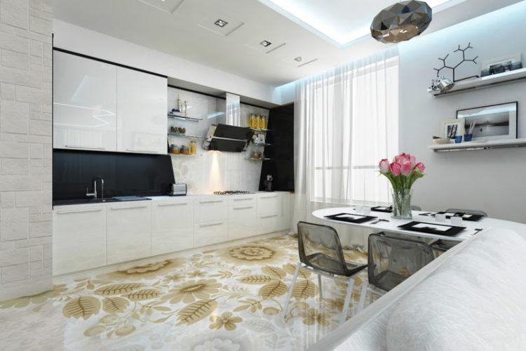 Фото: Наливной пол на кухне, вид 3