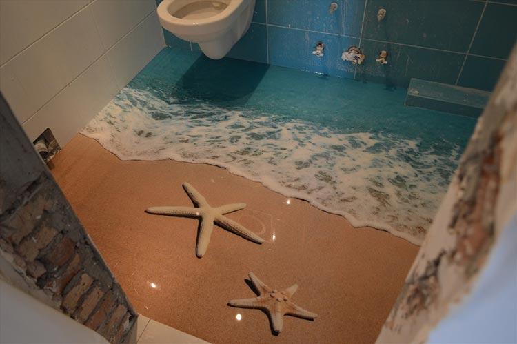 Фото: 3D пол в ванной комнате, вид 2