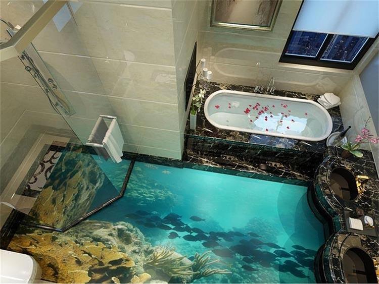 Фото: 3D пол в ванной комнате, вид 1