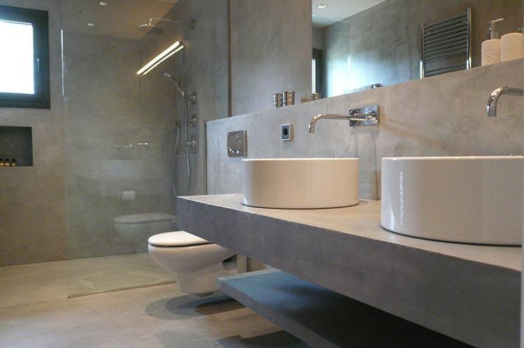 Фото: Отделка микроцементом в ванной комнате